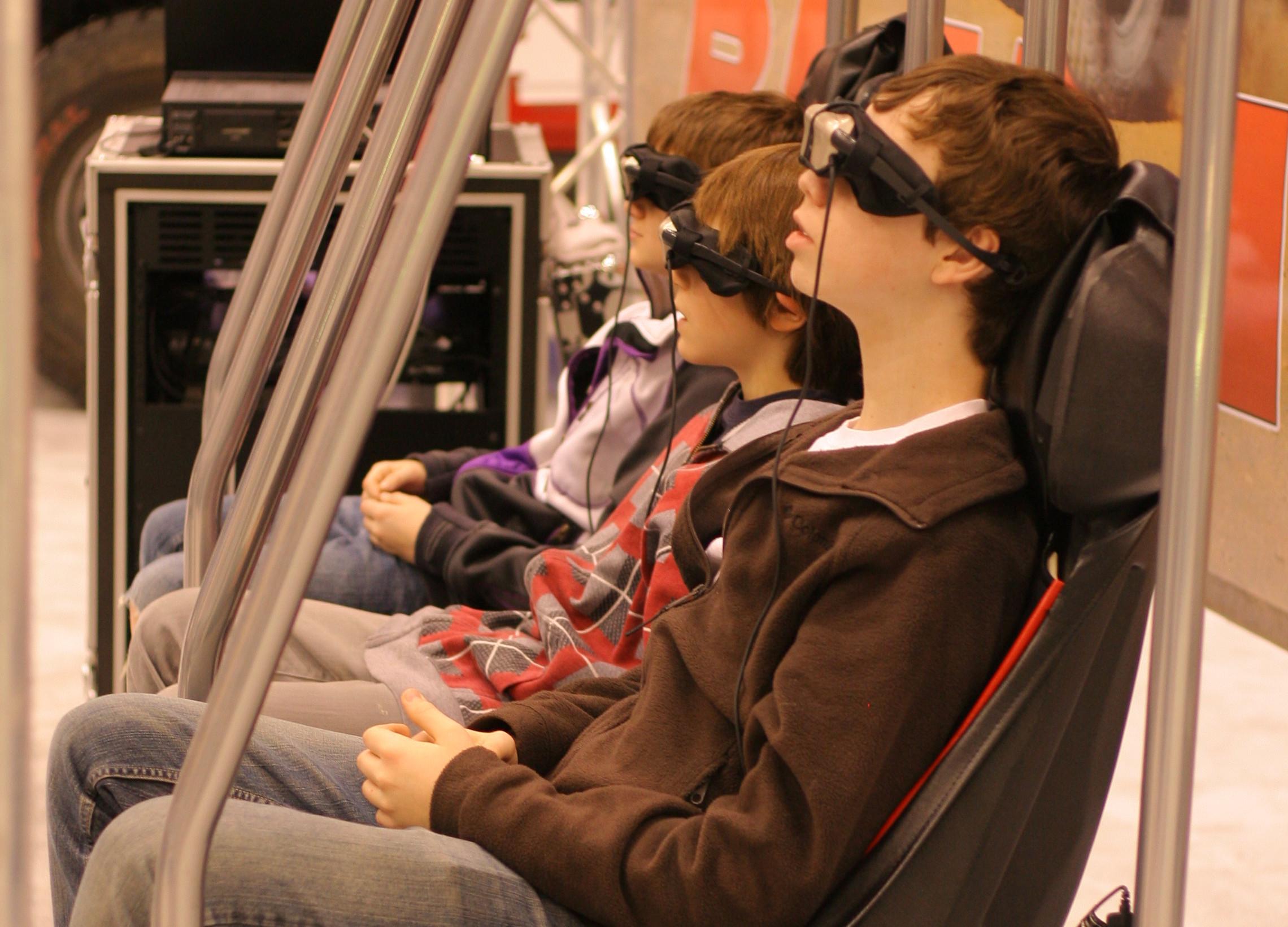 A virtual reality racing set-up.