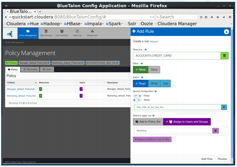 A screen shot of BlueTalon's policy management system in action.