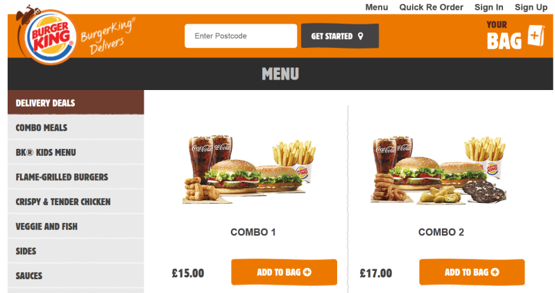 Burger King's Online Delivery Portal
