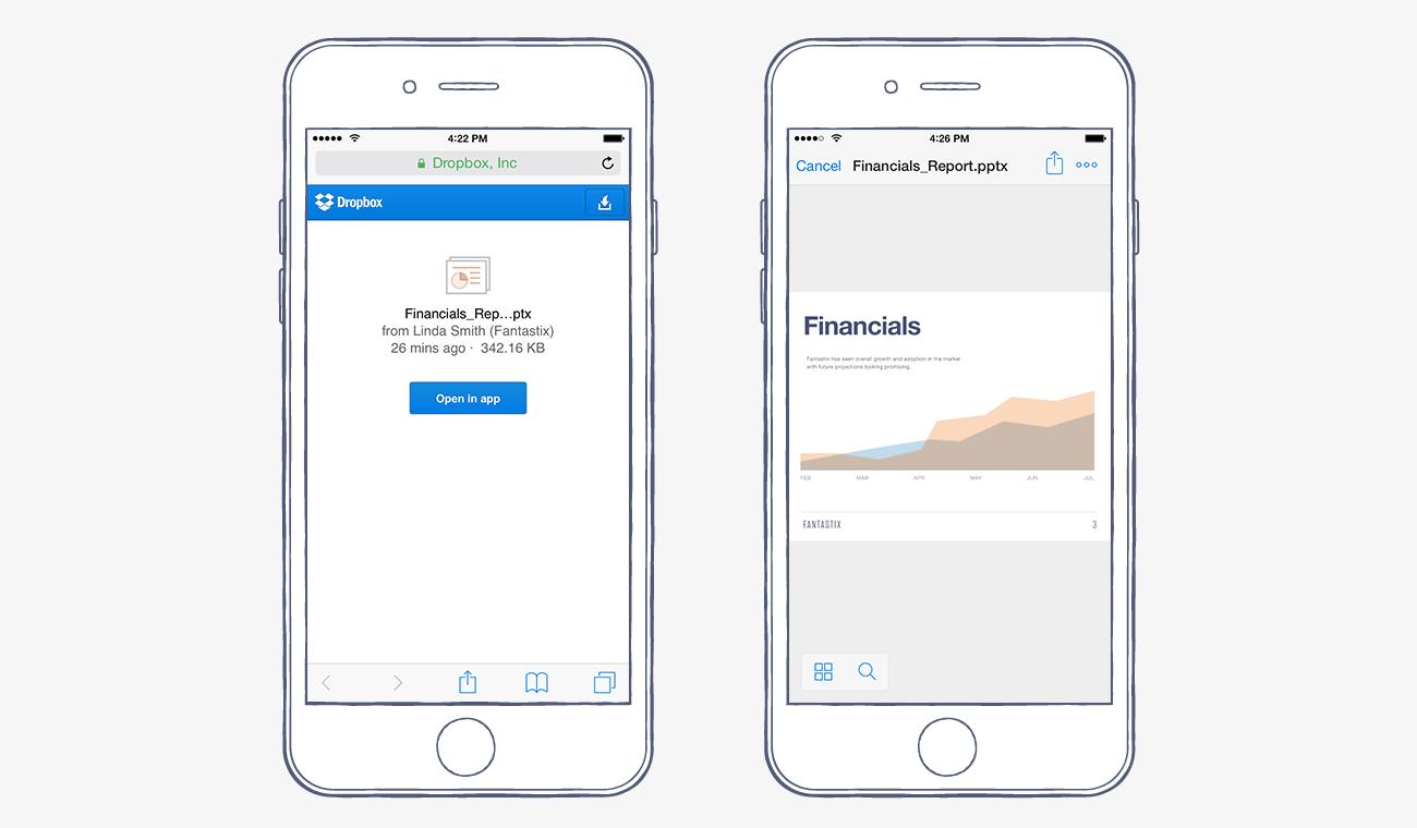 Dropbox-ios-links-screenshots
