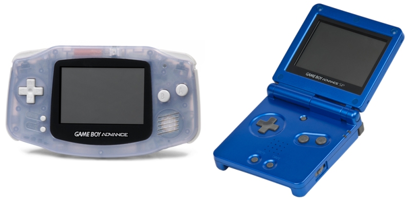 The awesome SP (right) and the less-so Game Boy Advance (images not to scale).