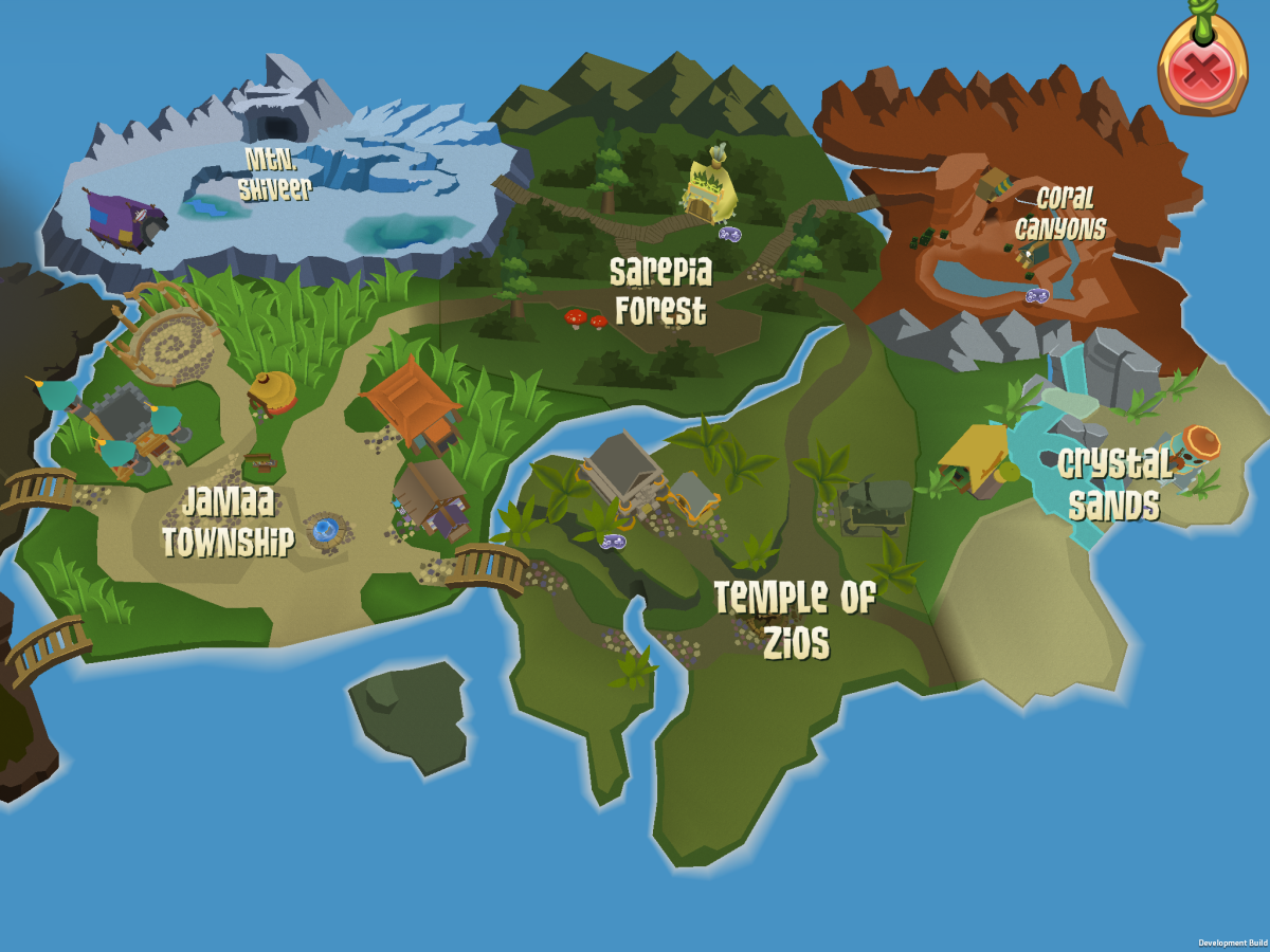 Part of the world map in Animal Jam mobile.