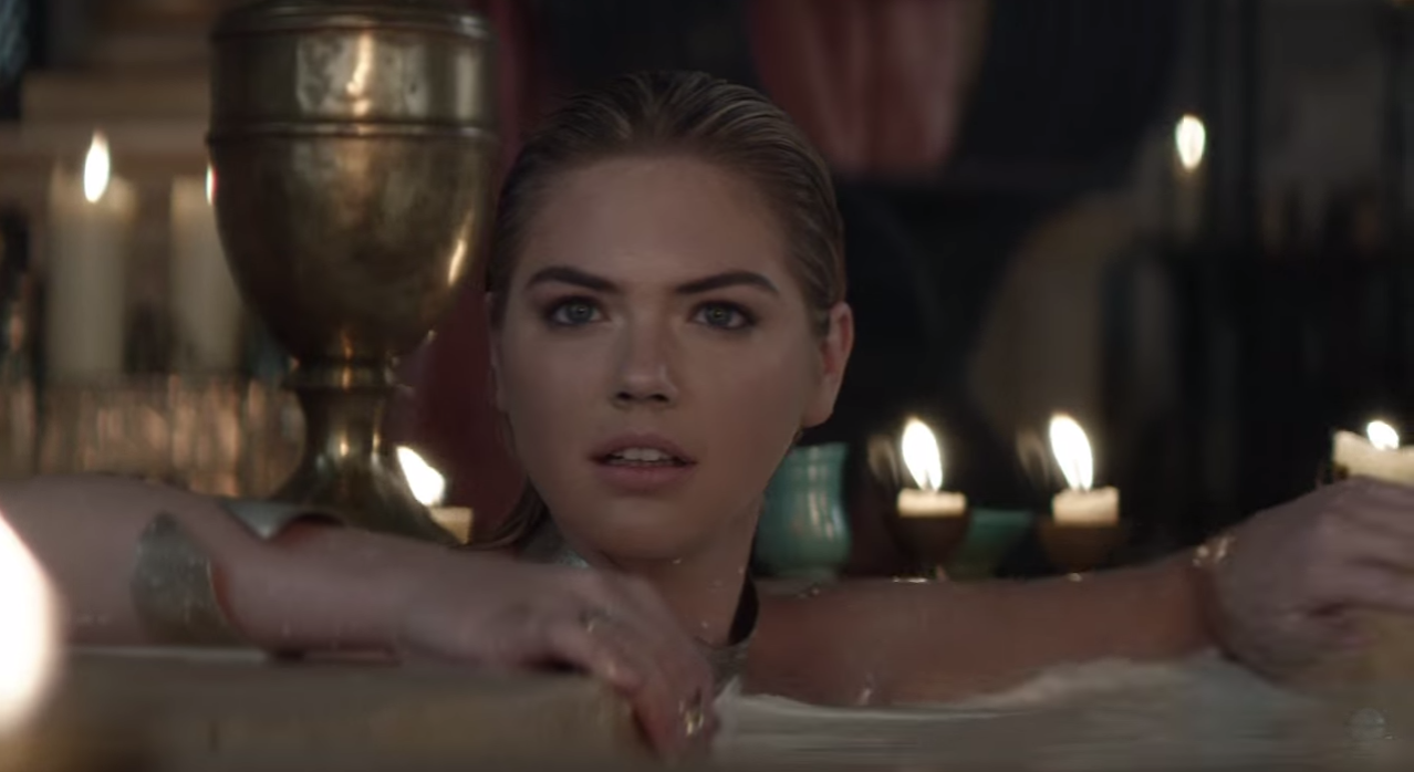 Kate Upton as a goddess in the Game of War commercial.