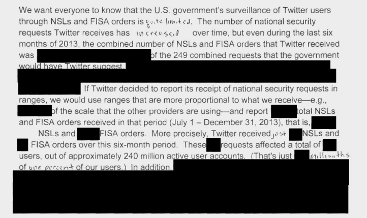 Twitter's redacted national security data request transparency report, parts of which have been declassified by the U.S. Government.