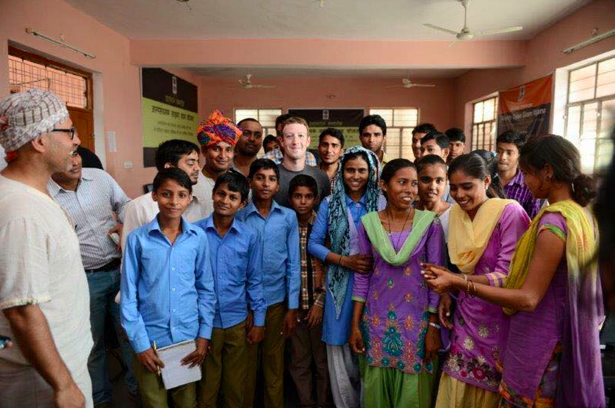 Facebook CEO Mark Zuckerberg in India, where the company has just rolled out Internet.org.