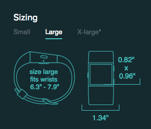 Fitbit Surge sizing chart