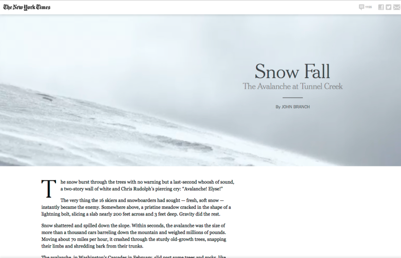 The opening screen of The New York Times' Snow Fall