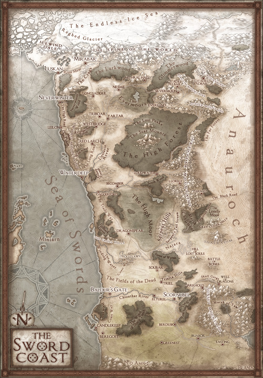 The Sword Coast includes such hubs of adventure such as Neverwinter, Icewind Dale, the Silver Marches, and Baldur's Gate.