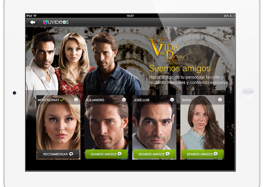 Applicaster's CrossMates service enables viewers to choose a friend from the characters on this Univision telenovela..