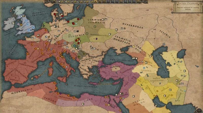 Total War: Attila. The overhead map of the empire in 395 AD.