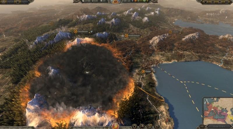 Total War: Attila. The campaign map burns when you raze a city.