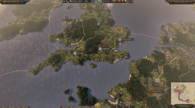 Campaign map over England in Total War: Attila