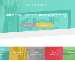 "A screenshot of Hello Society's site, a company which offers ""Influencer-Powered Pinterest Marketing."""