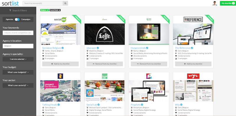 A results page in Sortlist. Agencies with the green stripes have paid for their position.