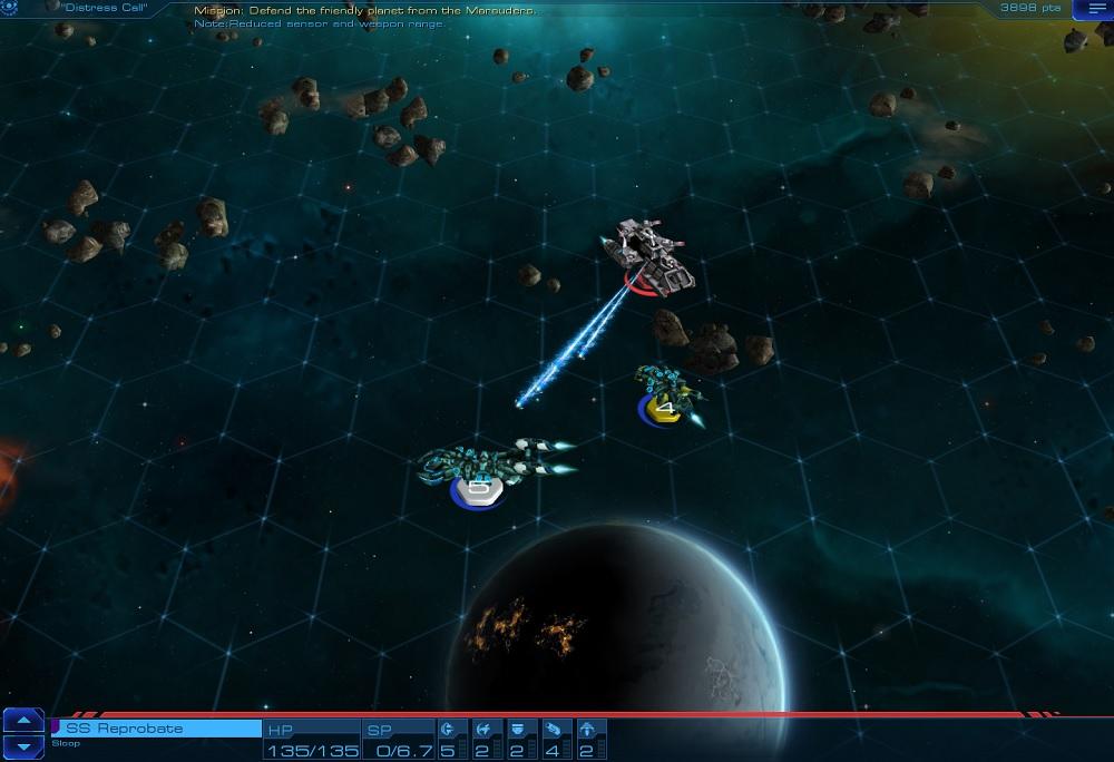 Sid Meier's Starships combat action.
