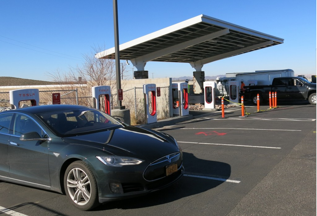 Solar panels at a Supercharger station in Barstow, Calif., during a Tesla Model S road trip.