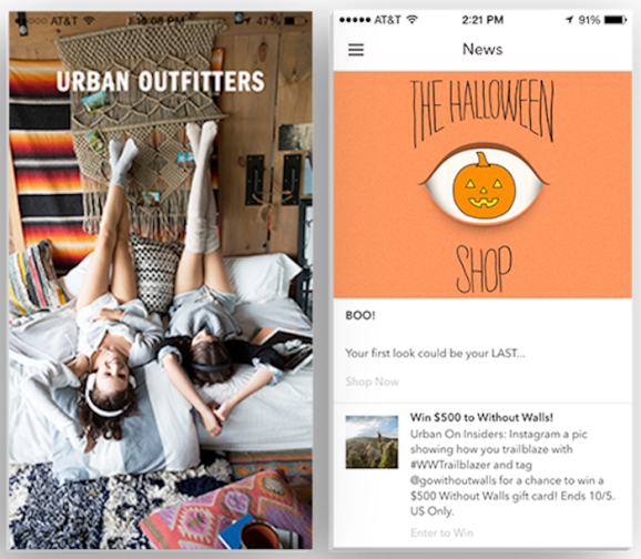 An Appboy-powered app for Urban Outfitters