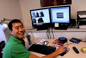 Bei Yang at his workstation.