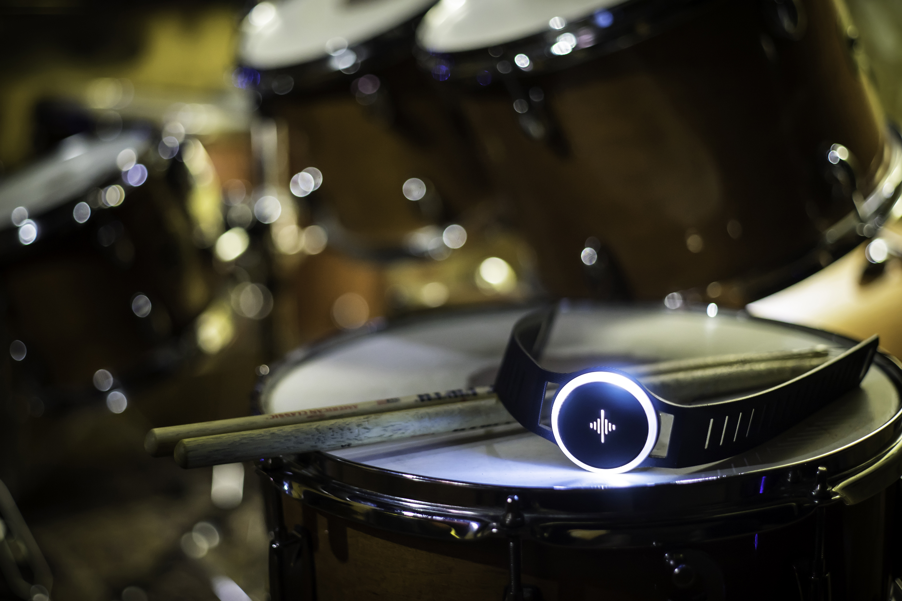 The Pulse, seen resting on a set of drums.