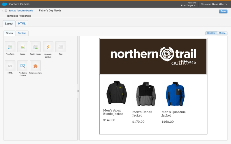 A content-for-email screen that uses Predictive Decisions in Salesforce's Marketing Cloud.