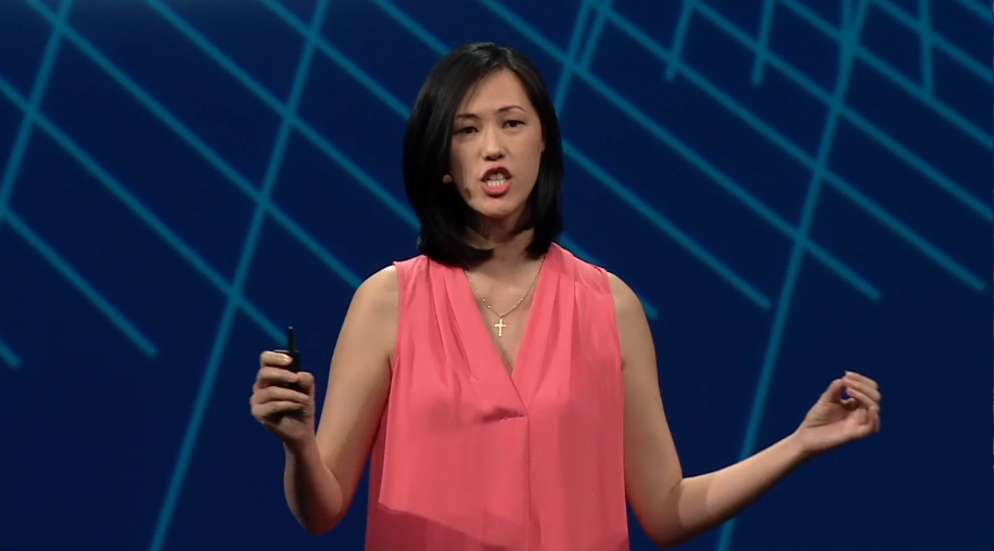 Facebook executive Deborah Liu, onstage at the company's F8 conference, explaining the company's analytics and ad network strategies, March 25, 2015.