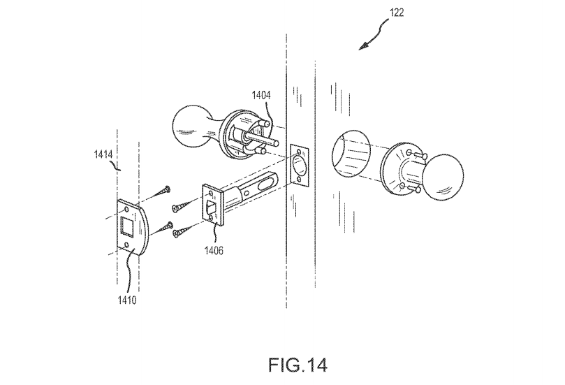 """Google's smart doorknob concept, in the patent application """"Security Scoring in a Smart-Sensored Home."""""""