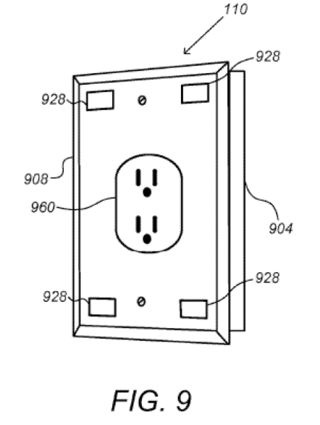 "Google's smart wall plug concept, in the patent application ""Security Scoring in a Smart-Sensored Home."""