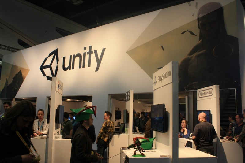 The Unity booth on the GDC 2015 show floor.