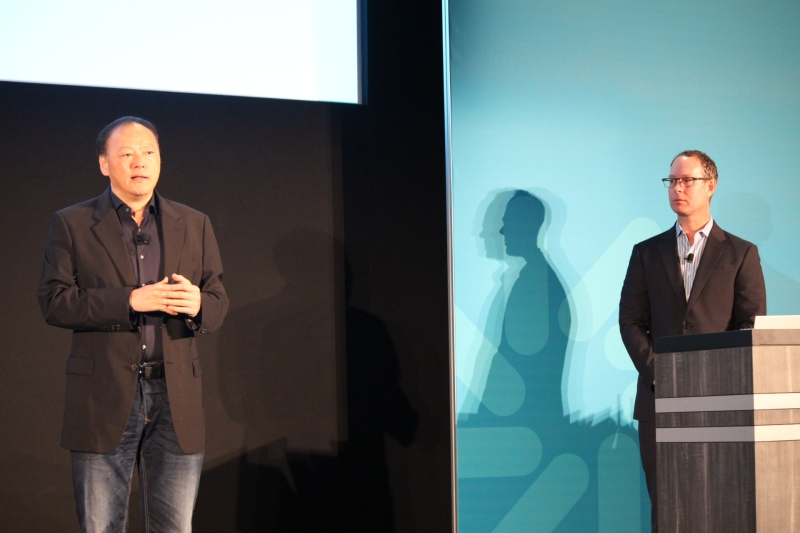 HTC's Peter Chou speaking at Qualcomm's press conference in Barcelona Monday. HTC's new One M9 runs on a Snapdragon 810 chip.