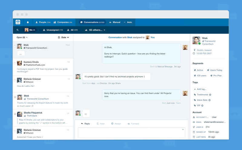 A screen showing the business' side of a messaging conversation in Intercom