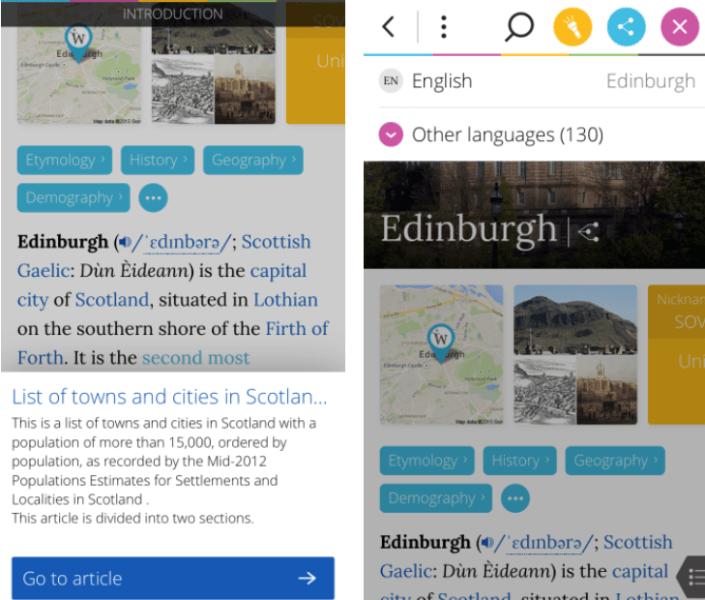 Link Previews (Left) & Languages