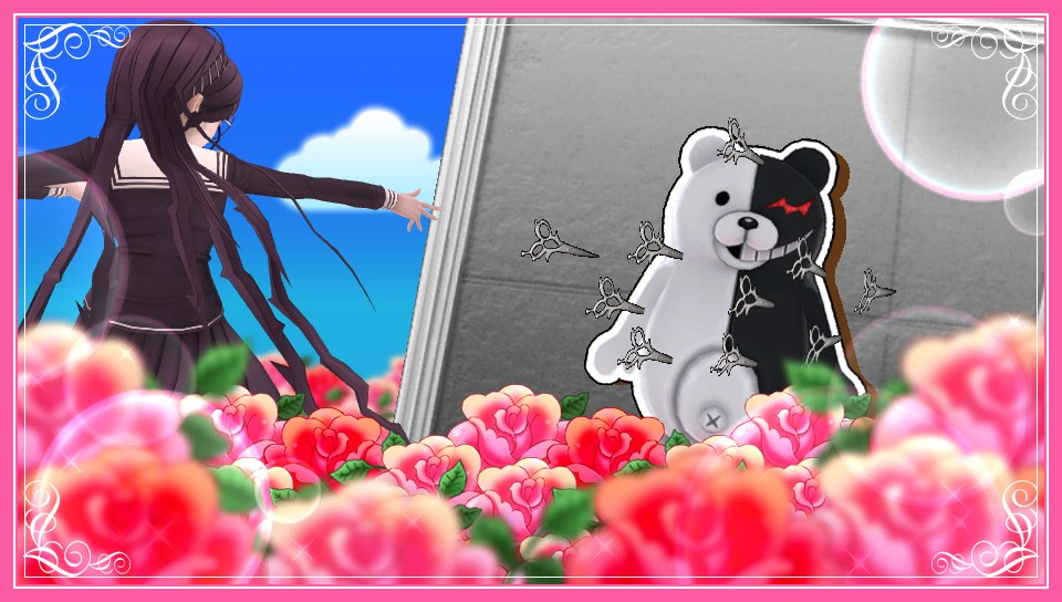 A GamesBeat exclusive image from Danganronpa Another Episode: Ultra Despair Girls, showing Genocide Jack and Monokuma in a situation.