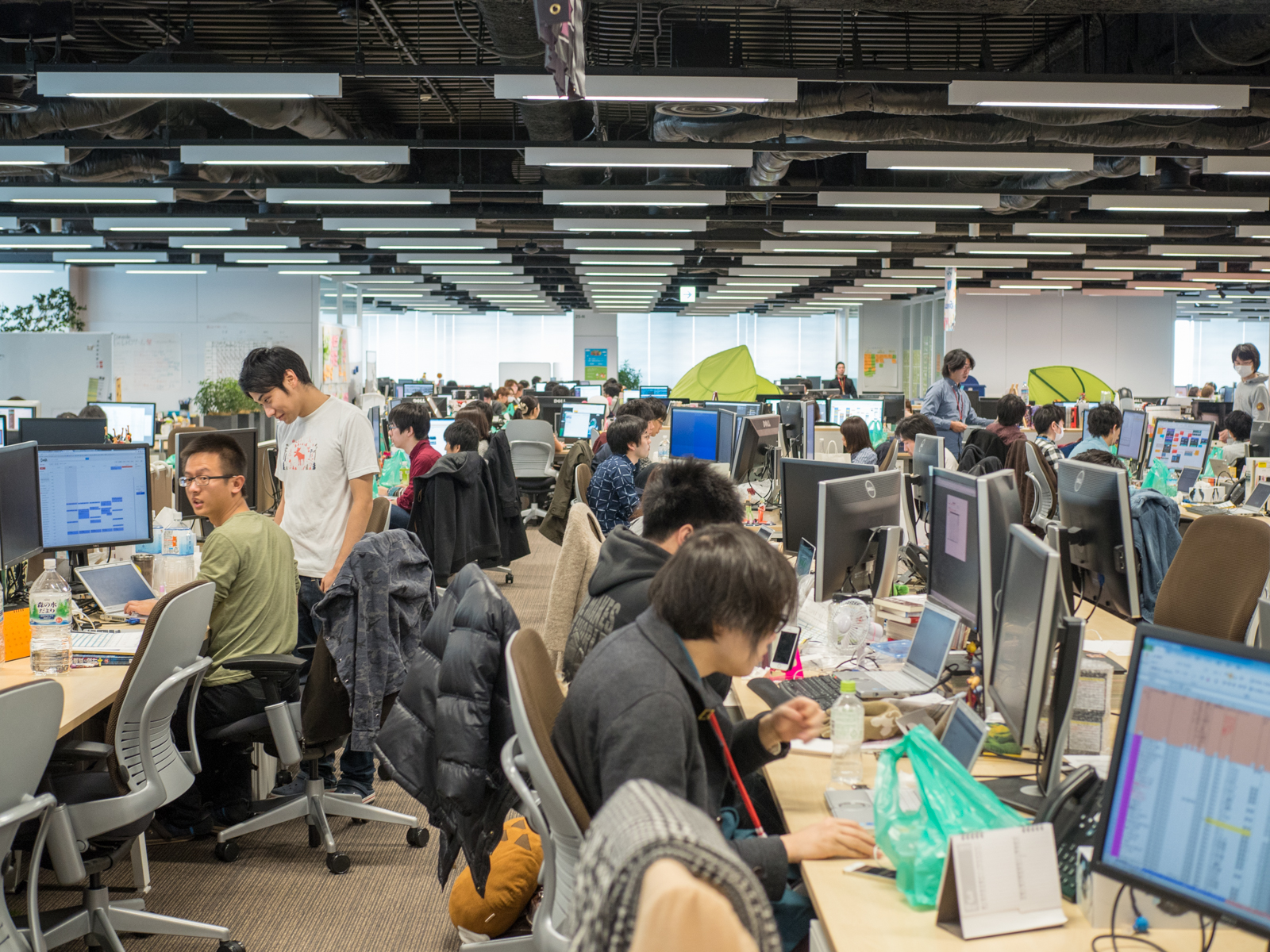 One of the work floors of the DeNA Tokyo headquarters, where employees work on games.