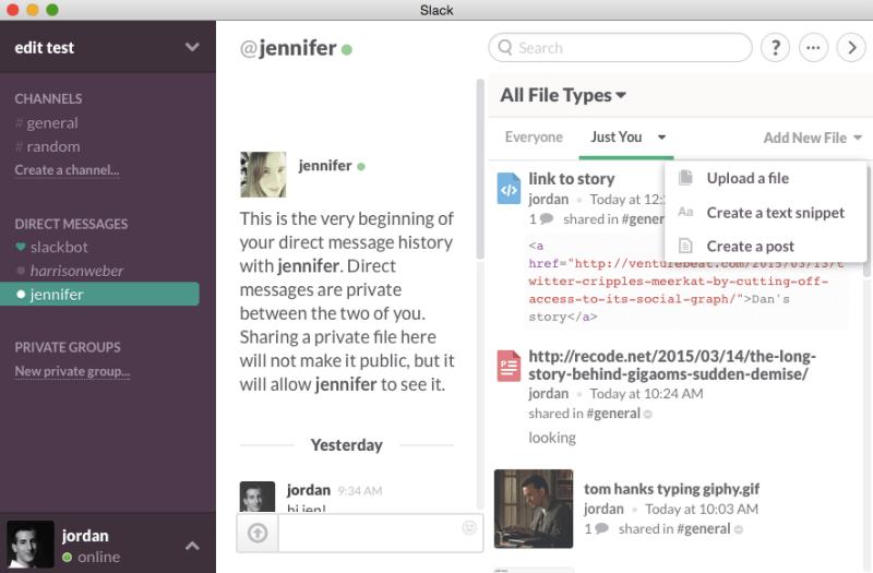 Slack's Mac app is on.