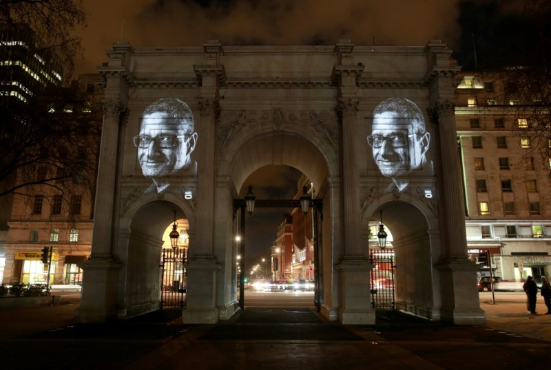 Divyesh Ruparelia, a London cabbie, is projected onto Marble Arch