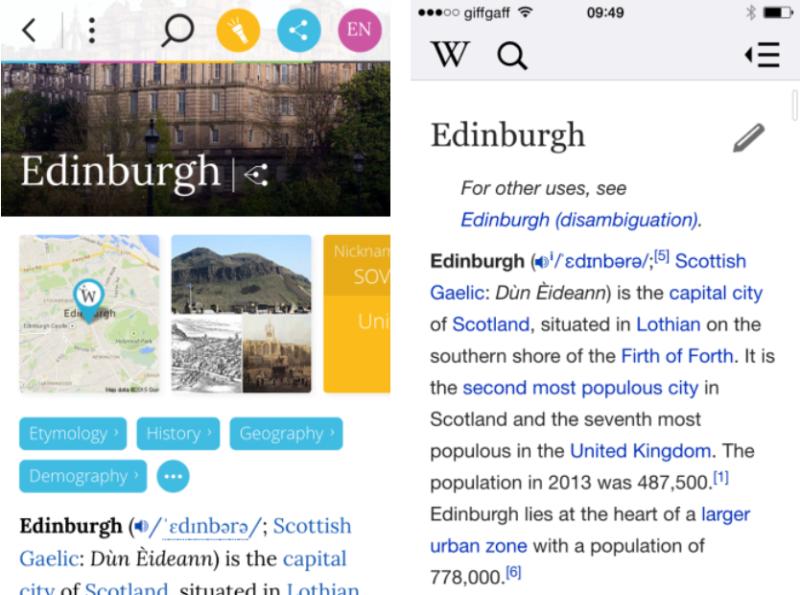 Wikiwand (Left) vs. Wikipedia