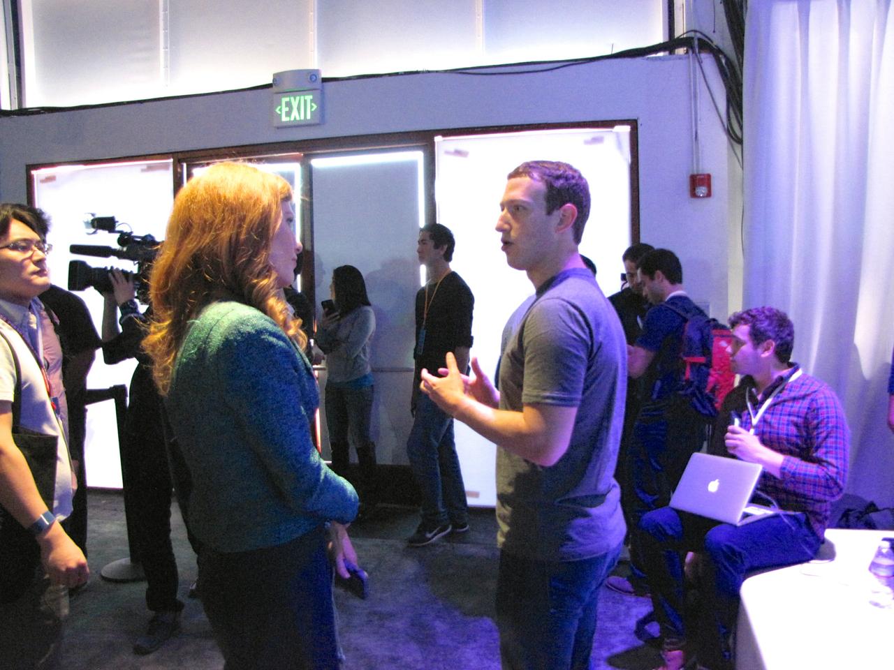 Facebook CEO Mark Zuckerberg giving an interview at F8 in San Francisco.