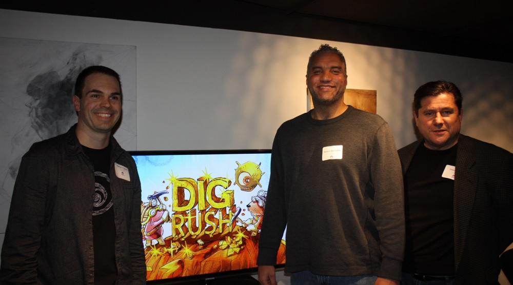 Dig Rush creators Mathieu Ferland of Ubisoft, and Robert Derricotte and Joseph Koziak of Amblyotech