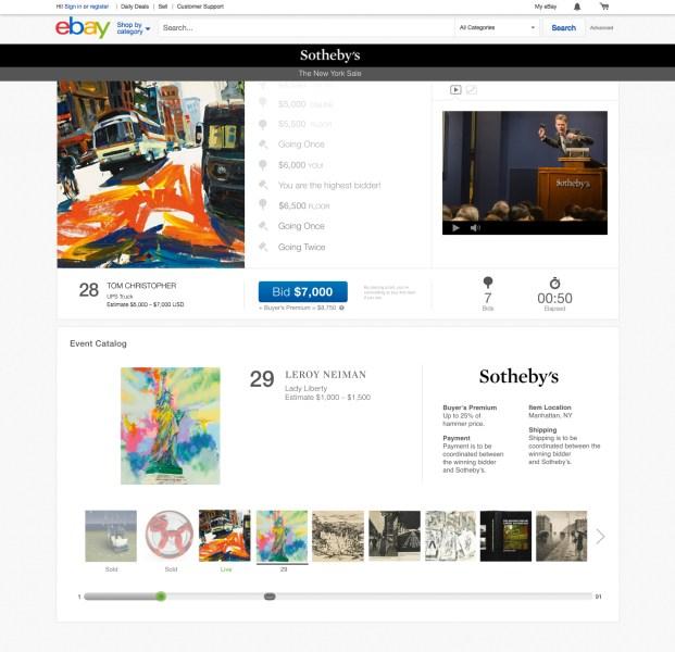 eBay and Sotheby's Live Auction platform - Bid Console