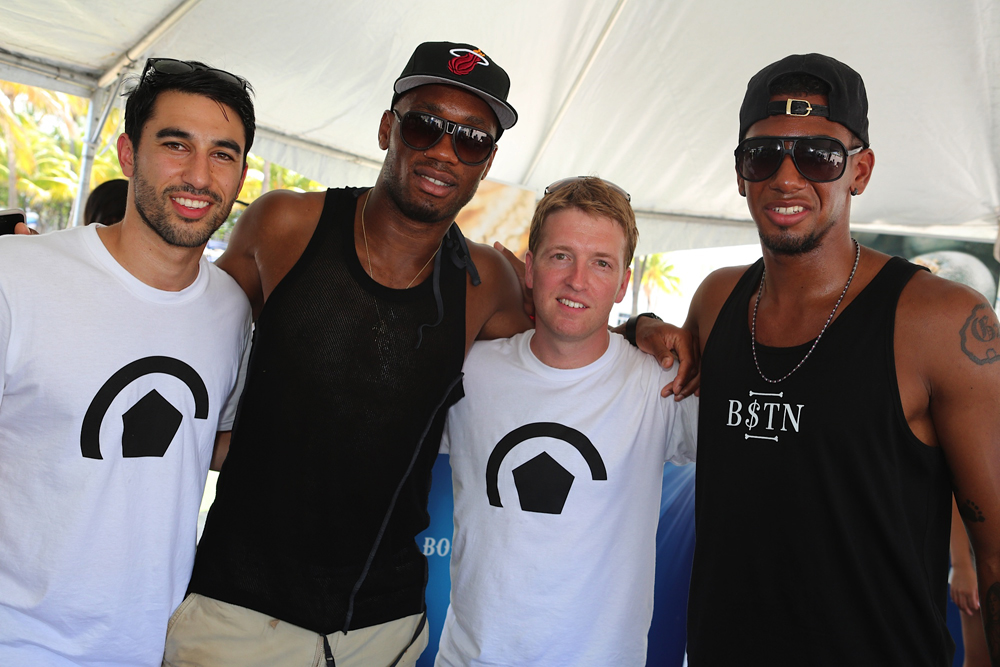From left to right: Danny Karbassiyoon, Chelsea striker Didier Drogba, Adam Davis, and Fury90 baller Jerome Boateng.