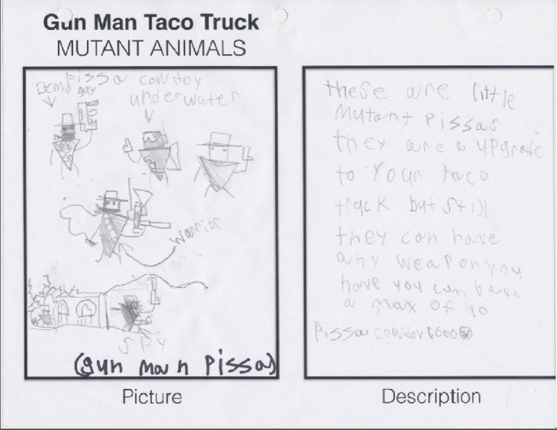 A page from the design doc for Gunman Taco Truck.