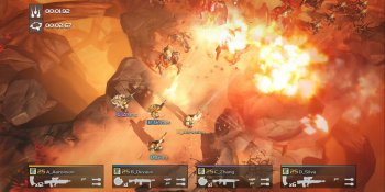 Helldivers is a challenging arcade-style bloodbath set in a boring universe