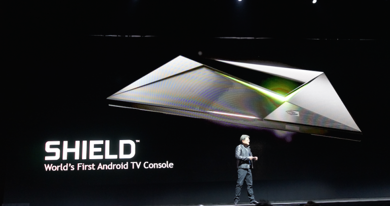 Jen-Hsun Huang unveils the Nvidia Shield Android TV console.