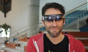 Jules Urbach, CEO of Otoy, wearing Osterhaut's augmented reality glasses.