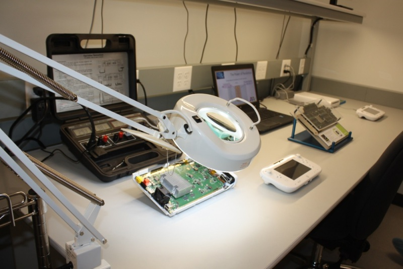 A disassembled Wii U game console at Micron's engineering lab.