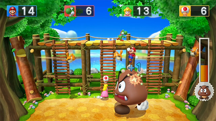 It's not a Mario game if you don't jump on a goomba.