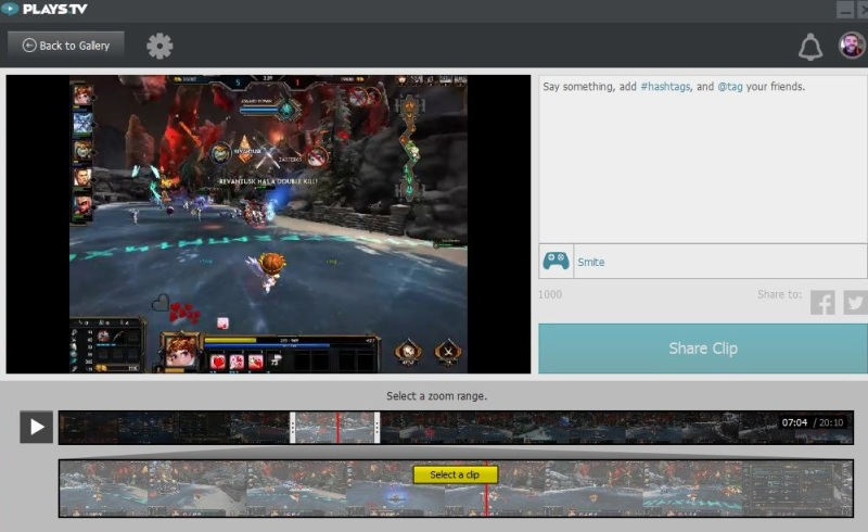 Plays.tv edit screen