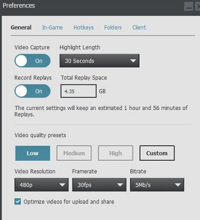 Setting Plays.tv preferences.