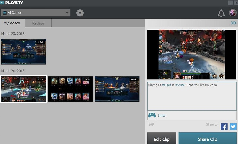 Sharing screen in Plays.tv