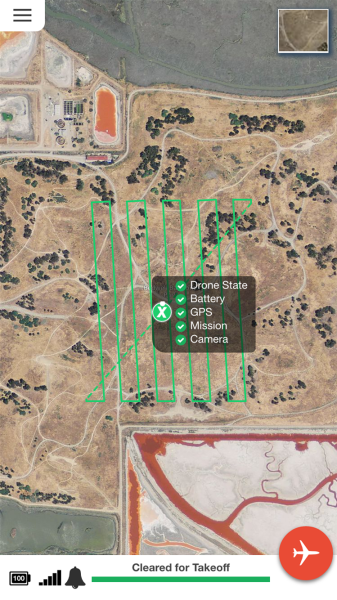 The app shows that the survey route is planned and the drone is ready to fly.